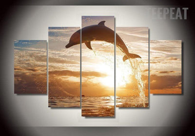 TEEPEAT Canvas Medium / Unframed Dolphin In The Ocean Painting - 5 Piece Canvas