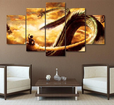 TEEPEAT Canvas Medium / Unframed Dragon Ball Cuadros For Living Room - 5 Piece Canvas Painting