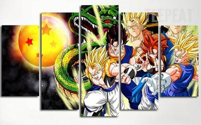 TEEPEAT Canvas Medium / Unframed Dragon Ball Super Saiyans Painting - 5 Piece Canvas