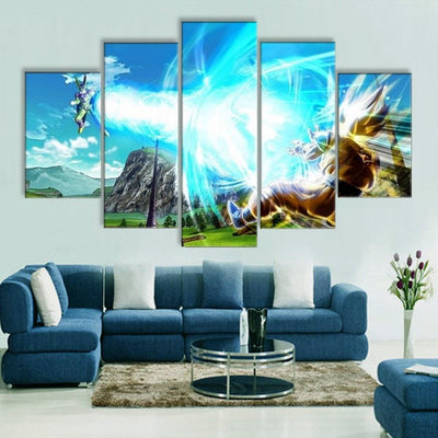 TEEPEAT Canvas Medium / Unframed Dragon Ball Z Fight Scene - 5 Piece Canvas Painting