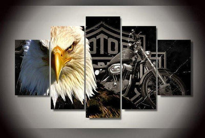 TEEPEAT Canvas Medium / Unframed Eagle Motorcycle Rider- 5 Piece Canvas