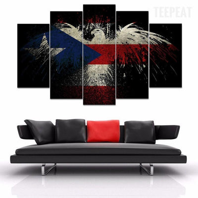 TEEPEAT Canvas Medium / Unframed Eagle & The Flag- 5 Piece Canvas Painting
