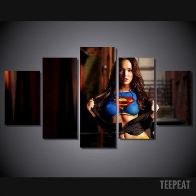 "TEEPEAT Canvas Medium / Unframed ""Megan's a Fan!"" - 5 Piece Canvas Painting"