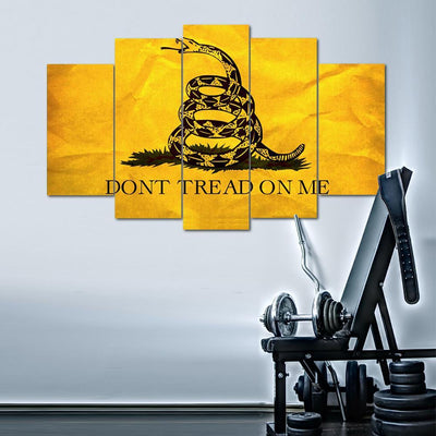 TEEPEAT Canvas Medium / Unframed *YELLOW* Don't Tread On Me - 5 Piece Canvas Painting