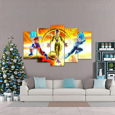 "TEEPEAT Canvas ""The Enemy of My Enemy is My Friend"" DBZ - 5 Piece Canvas Painting"