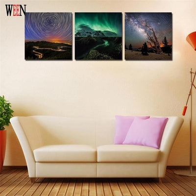 "TEEPEAT Canvas ""The Skies From Earth"" - 3 Piece Canvas Painting"