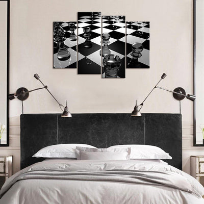 TEEPEAT Canvas unframed / large Chess Board Black and White - 4 piece canvas