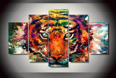 TEEPEAT Canvas Unframed / Medium Abstract Tiger Painting - 5 Piece Canvas
