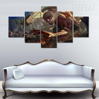 TEEPEAT Canvas unframed / medium Attack on Titan : Mikasa vs. Titan - 5 piece canvas