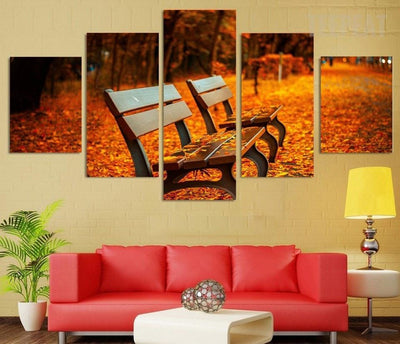 TEEPEAT Canvas unframed / medium Autumn Bench - 5 piece canvas