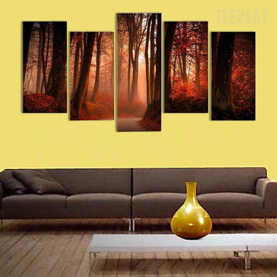 TEEPEAT Canvas unframed / medium Autumn Forest Road - 5 piece canvas