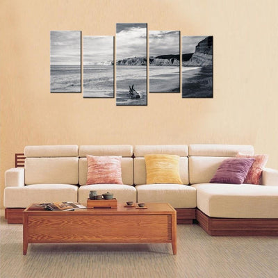 TEEPEAT Canvas unframed / medium Beach Black and White - 5 piece canvas