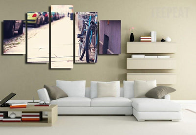 TEEPEAT Canvas unframed / medium Bicycle on a Sidewalk - 5 piece canvas