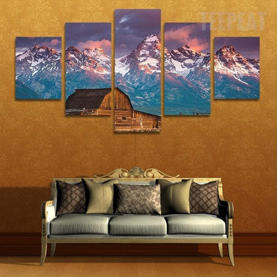 TEEPEAT Canvas unframed / medium Cabin on Snowy Mountain - 5 piece canvas