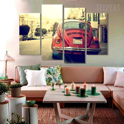 TEEPEAT Canvas unframed / medium Classic Volkswagen Beetle - 4 piece canvas