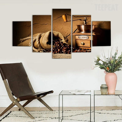 TEEPEAT Canvas unframed / medium Coffee and Grinder - 5 piece canvas