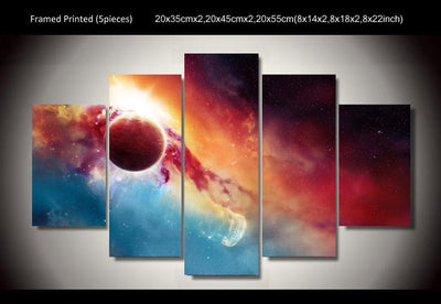 TEEPEAT Canvas Unframed / Medium Colorful Universe Painting - 5 Piece Canvas