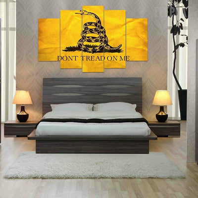 TEEPEAT Canvas *YELLOW* Don't Tread On Me - 5 Piece Canvas Painting