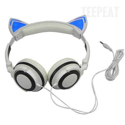 TEEPEAT Electronics White Cat Ears Shaped Headphones