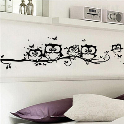 TEEPEAT home decoration Black Owl Wall Stickers