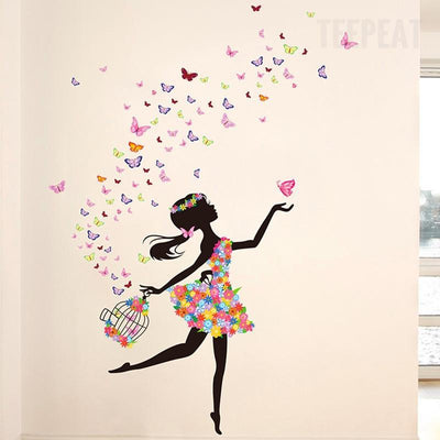 TEEPEAT home decoration Butterfly Fairy Dance Wall Stickers