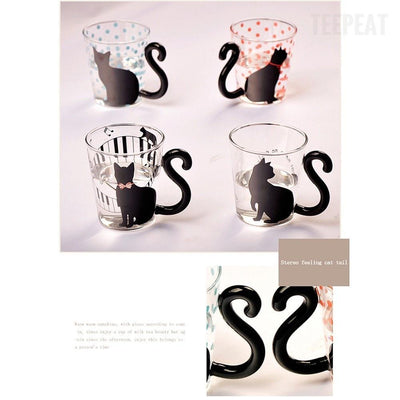 TEEPEAT mug Black Cat Glass Mug