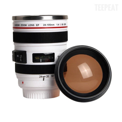 TEEPEAT mug White Camera Lens Travel Mug