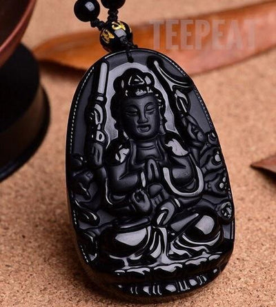 TEEPEAT Necklace 1 Black Obsidian Carved Buddha Amulet Pendant