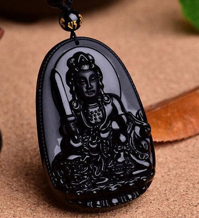 TEEPEAT Necklace 3 Black Obsidian Carved Buddha Amulet Pendant