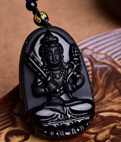 TEEPEAT Necklace 4 Black Obsidian Carved Buddha Amulet Pendant