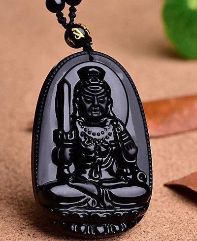 TEEPEAT Necklace 6 Black Obsidian Carved Buddha Amulet Pendant