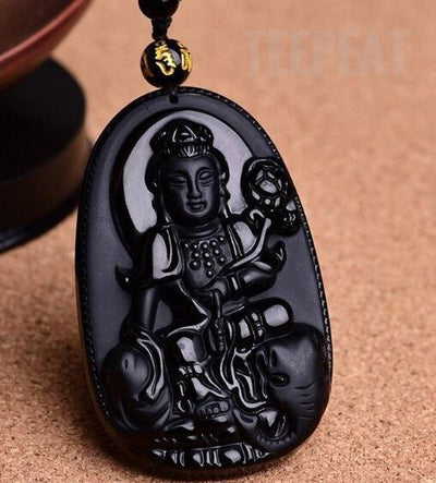 TEEPEAT Necklace 7 Black Obsidian Carved Buddha Amulet Pendant