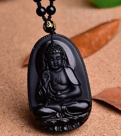 TEEPEAT Necklace 8 Black Obsidian Carved Buddha Amulet Pendant