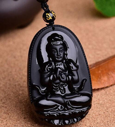 TEEPEAT Necklace Black Obsidian Carved Buddha Amulet Pendant