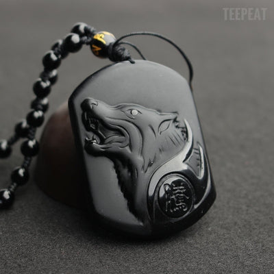 TEEPEAT Necklace Black Wolf Necklace Obsidian