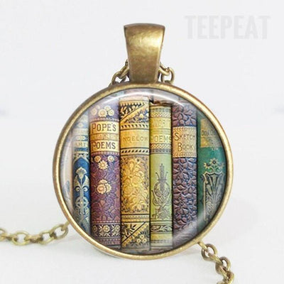 TEEPEAT Necklace D Book Case Vintage Necklace