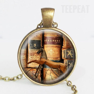 TEEPEAT Necklace G Book Case Vintage Necklace