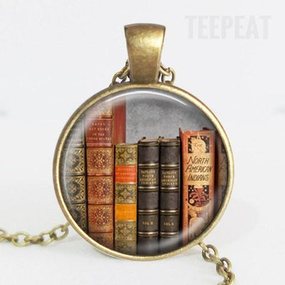 TEEPEAT Necklace H Book Case Vintage Necklace