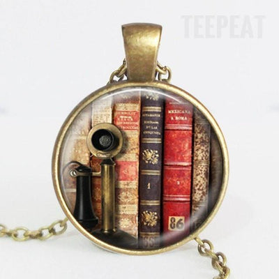 TEEPEAT Necklace I Book Case Vintage Necklace