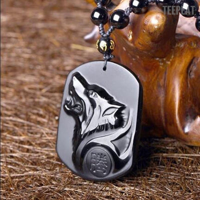 TEEPEAT Necklace New / One size fits all Black Wolf Necklace Obsidian
