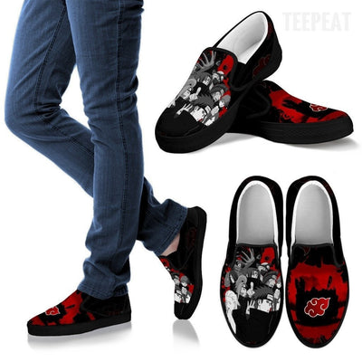 TEEPEAT Shoes Men's Slip Ons / Black / US8 (EU40) Akatsuki Members Slip-On Canvas Shoes