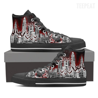 TEEPEAT Shoes Mens High Top / Black / US8 (EU40) Batman Geometri High Top Canvas Shoes