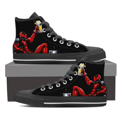 TEEPEAT Shoes Mens High Top / Black / US8 (EU40) Deadpool Boozed High Top Canvas Shoes