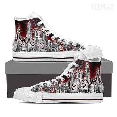 TEEPEAT Shoes Mens High Top / White / US8 (EU40) Batman Geometri High Top Canvas Shoes