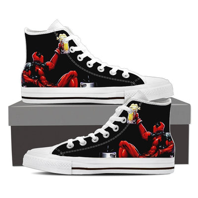 TEEPEAT Shoes Mens High Top / White / US8 (EU40) Deadpool Boozed High Top Canvas Shoes