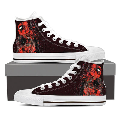 TEEPEAT Shoes Mens High Top / White / US8 (EU40) Deadpool Splatts High Top Canvas Shoes