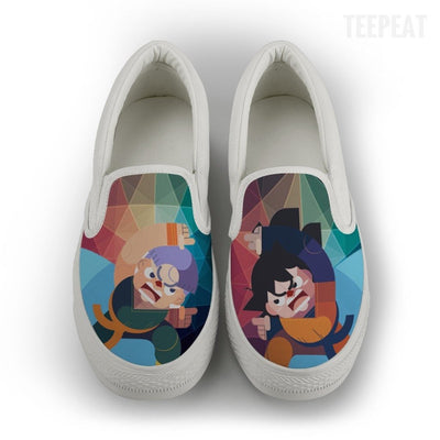 TEEPEAT Shoes Mens Slip On / White / US8 (EU40) DBZ Gotenks Men Slip-On Canvas Shoes