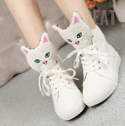 TEEPEAT shoes White / 4.5 Cat Head Flat Shoes