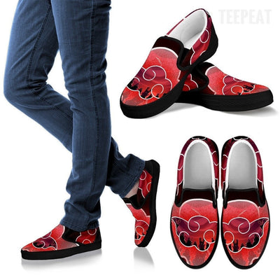 TEEPEAT Shoes Women's Slip Ons / Black / US6 (EU36) Akatsuki Team Slip-On Canvas Shoes