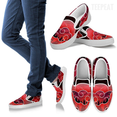 TEEPEAT Shoes Women's Slip Ons / White / US6 (EU36) Akatsuki Team Slip-On Canvas Shoes